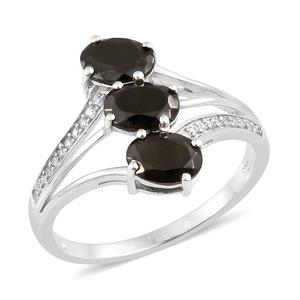 Shungite, Cambodian Zircon Platinum Over Sterling Silver Ring (Size 10.0) TGW 1.60 cts.