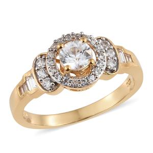 Natural White Zircon Vermeil YG Over Sterling Silver Ring (Size 7.0) TGW 1.52 cts.