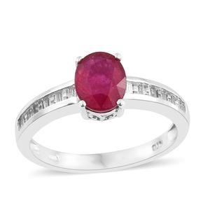 Niassa Ruby, White Topaz Platinum Over Sterling Silver Ring (Size 10.0) TGW 3.09 cts.