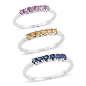Set of 3 Multi Sapphire Platinum Over Sterling Silver 6 Stone Line Rings (Size 5) TGW 1.35 cts.