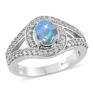 Ethiopian Welo Opal, Cambodian Zircon Platinum Over Sterling Silver Ring (Size 10.0) TGW 2.16 cts.