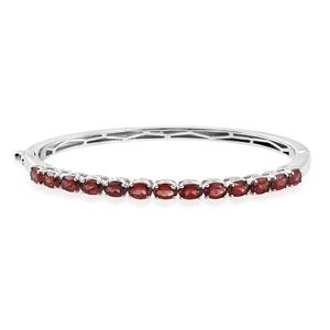KARIS Collection - Mozambique Garnet Platinum Bond Brass Bangle (7.25 in) TGW 6.40 cts.