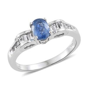 Himalayan Kyanite, White Topaz Platinum Over Sterling Silver Ring (Size 8.0) TGW 1.77 cts.