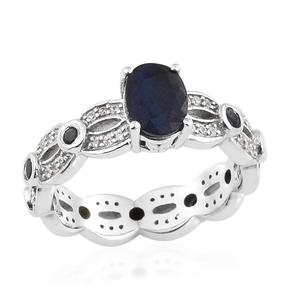 Madagascar Blue Sapphire, Multi Gemstone Platinum Over Sterling Silver Ring (Size 9.0) TGW 2.57 cts.