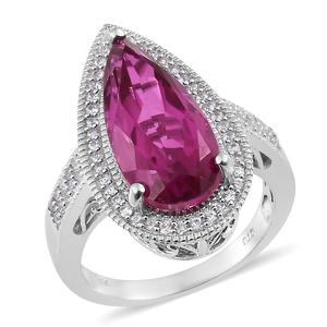 Radiant Orchid Quartz, Cambodian Zircon Platinum Over Sterling Silver Elongated Ring (Size 7.0) TGW 10.32 cts.