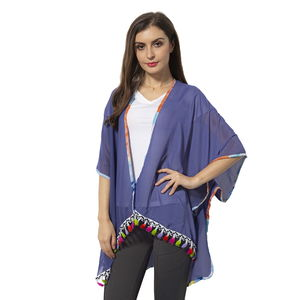 Blue 100% Polyester Kimono with Rainbow Color Edge & Tassles (35.43x27.55 in)