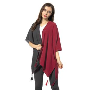 Black and Wine Red 100% Polyester Kimono with Tassles (38.59x27.56 in)