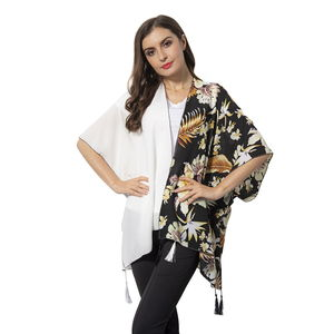 White and Black Printed 100% Polyester Kimono with Tassels (38.59x27.56 in)