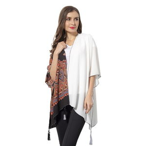 White Solid Color and Black Lotus Pattern 100% Polyester Kimono with Tassels (38.59x27.56 in)