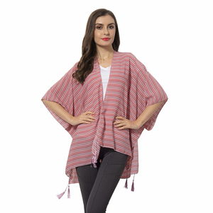 Pink 100% Polyester Strip Pattern Kimono with Tassels (38.59x27.56 in)