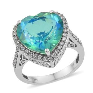 Peacock Quartz, Cambodian Zircon Platinum Over Sterling Silver Heart Ring (Size 7.0) TGW 11.82 cts.