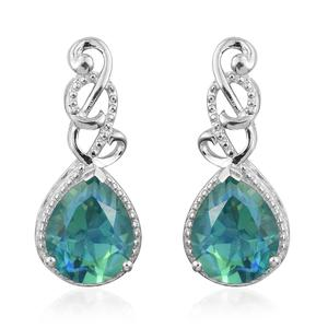Peacock Quartz Platinum Over Sterling Silver Earrings TGW 6.82 cts.