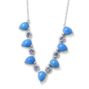 Ceruleite, Tanzanite Platinum Over Sterling Silver Necklace (18 in) TGW 7.90 cts.