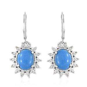 Ceruleite, Cambodian Zircon Platinum Over Sterling Silver Lever Back Earrings TGW 4.69 cts.