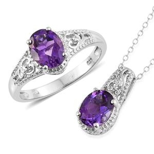 Moroccan Amethyst, Cambodian Zircon Platinum Over Sterling Silver Ring (Size 7) and Pendant With Chain (20 in) TGW 3.54 cts.