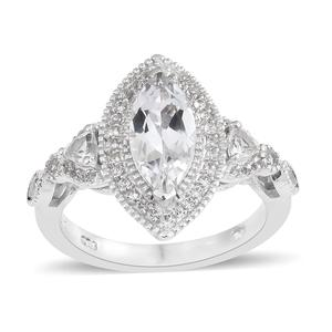 White Topaz Platinum Over Sterling Silver Ring (Size 9.0) TGW 2.66 cts.