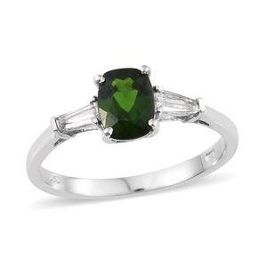 Russian Diopside, White Topaz Platinum Over Sterling Silver Ring (Size 10.0) TGW 2.00 cts.