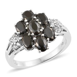 Shungite, Cambodian Zircon Platinum Over Sterling Silver Ring (Size 7.0) TGW 2.47 cts.