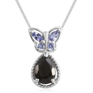 Shungite, Tanzanite Platinum Over Sterling Silver Butterfly Pendant With Chain (20 in) TGW 0.96 cts.