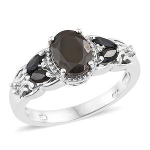 Shungite, Multi Gemstone Platinum Over Sterling Silver Ring (Size 8.0) TGW 2.05 cts.