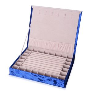 Blue New Long Hair Velvet Jewelry Box with Magnetic Lock (6 Necklace Hooks and 8 Ring Row) (12.2x10.2x2.2 in)