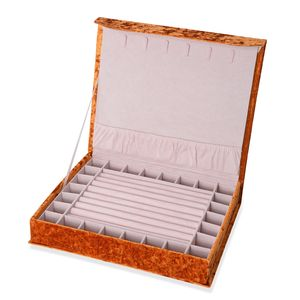 Camel New Long Hair Velvet Jewelry Box with Magnetic Lock (6 Necklace Hooks and 8 Ring Row) (12.2x10.2x2.2 in)