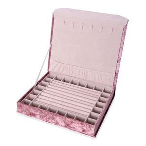 Pink Purple New Long Hair Velvet Jewelry Box with Magnetic Lock (6 Necklace Hooks and 8 Ring Row) (12.2x10.2x2.2 in)