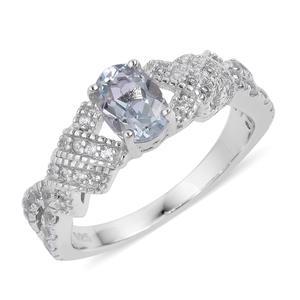 Espirito Santo Aquamarine, White Zircon Sterling Silver Ring (Size 7.0) TGW 1.40 cts.