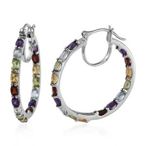 Multi Gemstone Platinum Over Sterling Silver Inside Out Hoop Earrings TGW 8.06 cts.