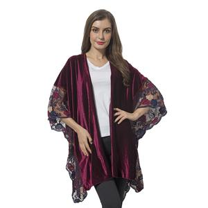 Wine Red 100% Polyester Flower Pattern Lace Sleeve Kimono (29.53x43.31 in)