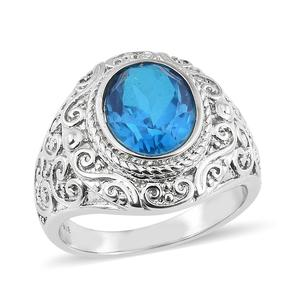 Caribbean Quartz Stainless Steel Ring (Size 7.0) TGW 4.25 cts.
