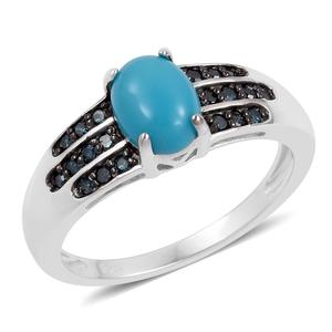 Customer Appreciation Day Arizona Sleeping Beauty Turquoise, Blue Diamond Black Rhodium & Sterling Silver Ring (Size 10.0) Total Diamond Weight 0.21 Carat, Total Gem Stone Weight 1.21 Carat