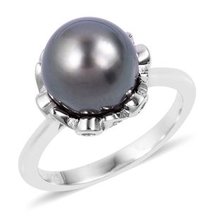Tahitian Pearl (10-10.5 mm), White Zircon Sterling Silver Ring (Size 8.0) TGW 0.31 cts.