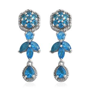 Malgache Neon Apatite Platinum Over Sterling Silver Floral Drop Earrings TGW 2.20 cts.