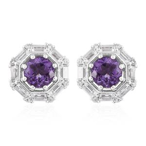 Rose De Maroc Amethyst, White Topaz Platinum Over Sterling Silver Earrings TGW 2.70 cts.