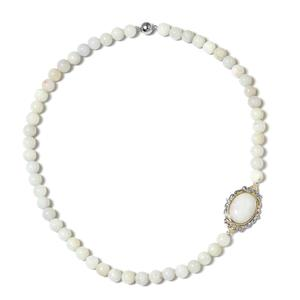 Burmese White Jade, White Topaz 14K YG Over and Sterling Silver Necklace (18 in) TGW 260.16 cts.