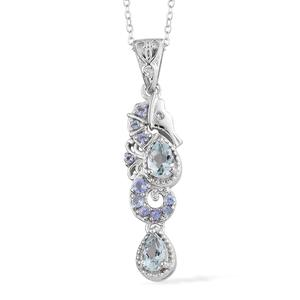 Espirito Santo Aquamarine, Multi Gemstone Platinum Over Sterling Silver Pendant With Chain (20 in) TGW 1.00 cts.