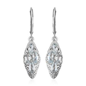 Espirito Santo Aquamarine Platinum Over Sterling Silver Lever Back Earrings TGW 1.60 cts.