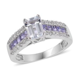 Espirito Santo Aquamarine, Multi Gemstone Sterling Silver Ring (Size 7.0) TGW 1.94 cts.