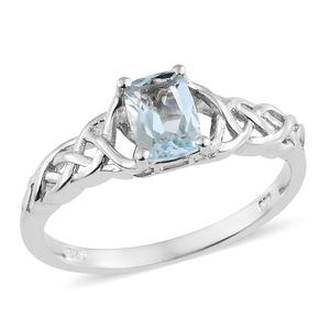 Espirito Santo Aquamarine Platinum Over Sterling Silver Braided Solitaire Ring (Size 5.0) TGW 0.79 cts.