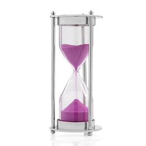 Pink Glass 5 Min. Sand Timer in Silver (4 in)