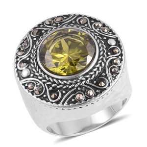 Simulated Peridot, Swiss Marcasite Black Oxidized Stainless Steel Ring (Size 8.0) TGW 3.20 cts.