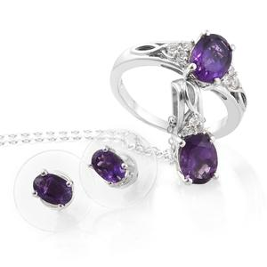 Lusaka Amethyst, Cambodian Zircon Platinum Over Sterling Silver Earrings, Ring (Size 10) and Pendant With Chain (20 in) TGW 3.45 cts.