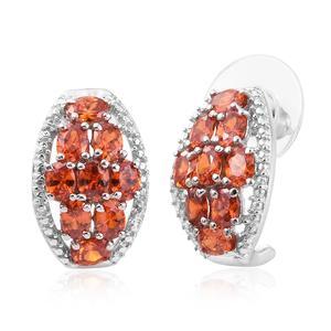 KARIS Collection - Simulated Orange Diamond Platinum Bond Brass J-Hoop Earrings TGW 4.88 cts.
