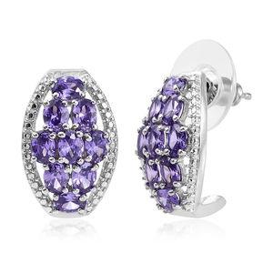 KARIS Collection - Simulated Blue Diamond Platinum Bond Brass J-Hoop Earrings TGW 5.00 cts.