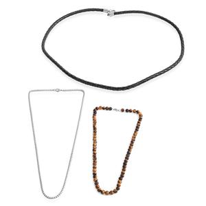 Set of 3 South African Tigers Eye, Genuine Leather, Stainless Steel Men's Beaded, Woven, and Box Necklace (20, 24 in) TGW 155.00 cts.