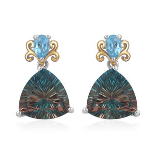 Aqua Terra Costa Quartz, Swiss Blue Topaz 14K YG and Platinum Over Sterling Silver Earrings TGW 13.52 cts.