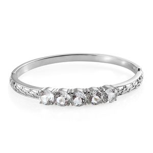 White Topaz Stainless Steel Bangle (6.50 in) TGW 12.00 cts.
