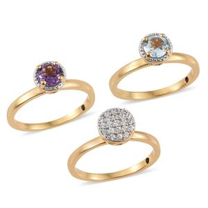 GP Set of 3 Sky Blue Topaz, Bolivian Amethyst, Cambodian Zircon Vermeil YG Over Sterling Silver Ring (Size 7.0) TGW 2.34 cts.