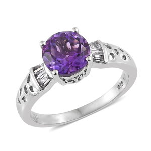 Rose De Maroc Amethyst Solitaire Ring in Platinum Over Sterling Silver 3.10 cttw (Size 7.0)